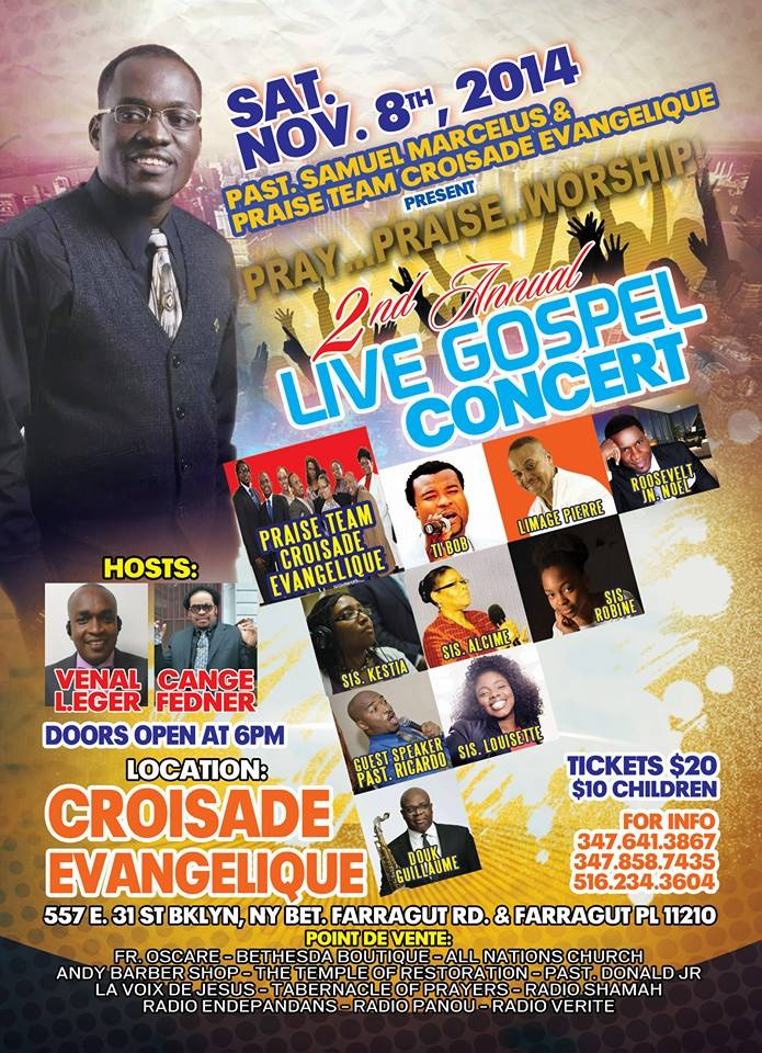Samuel Marcelus 2nd Annual Live Concert Saturday November 8 NY