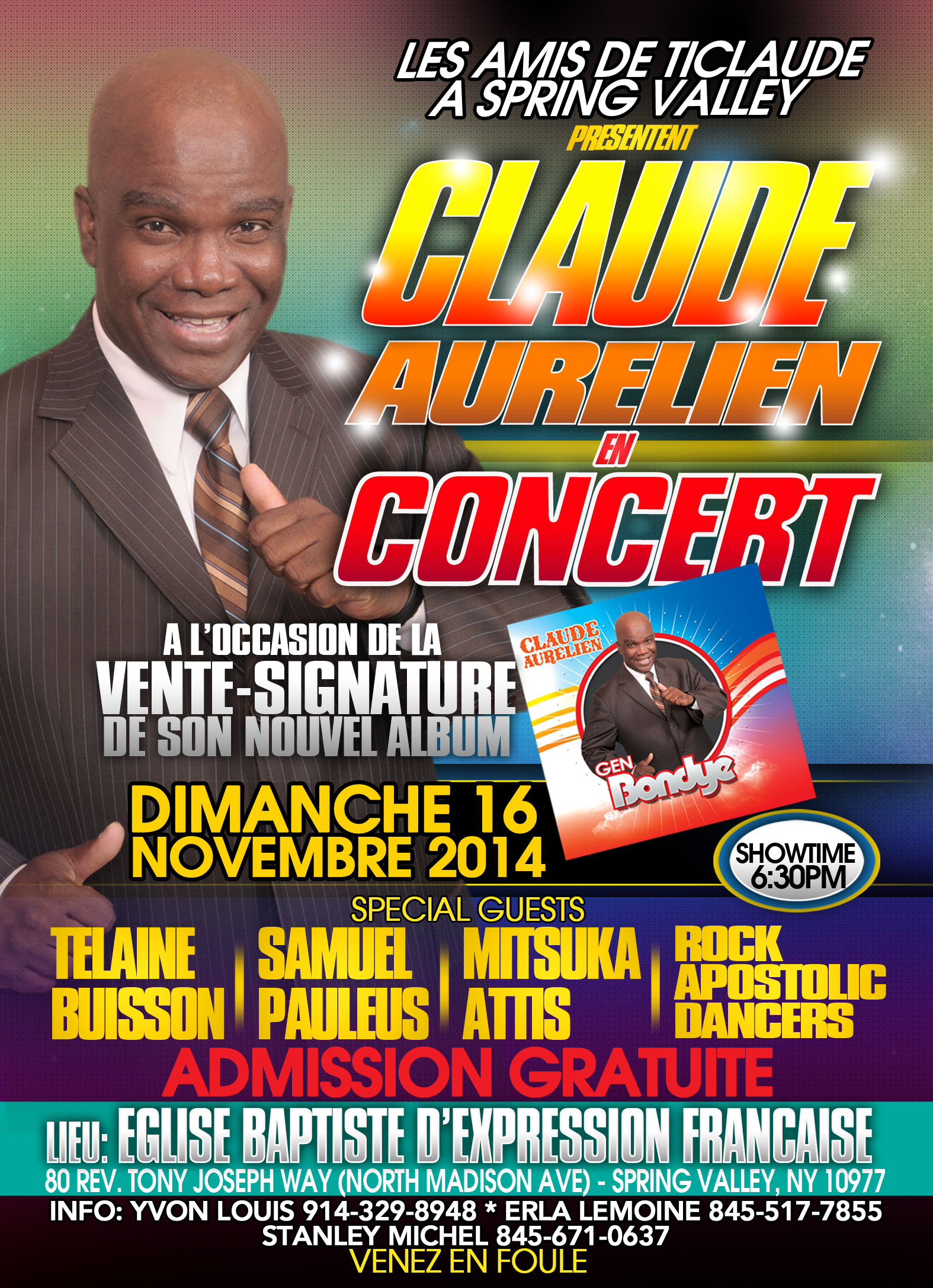 Claude Aurelien Live in Concert in Spring Valley NY Sunday November 16 2014 Event