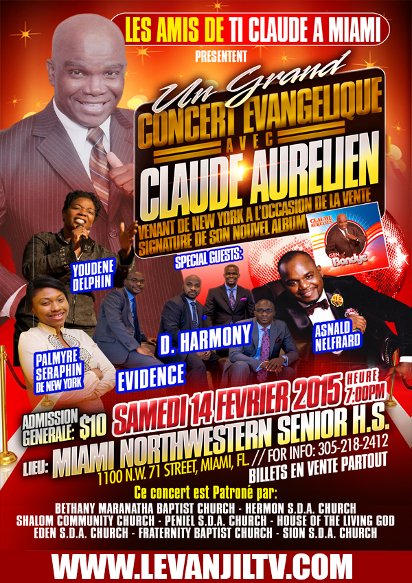 Claude Aurelien Miami Concert Saturday February 14th 2015 Event
